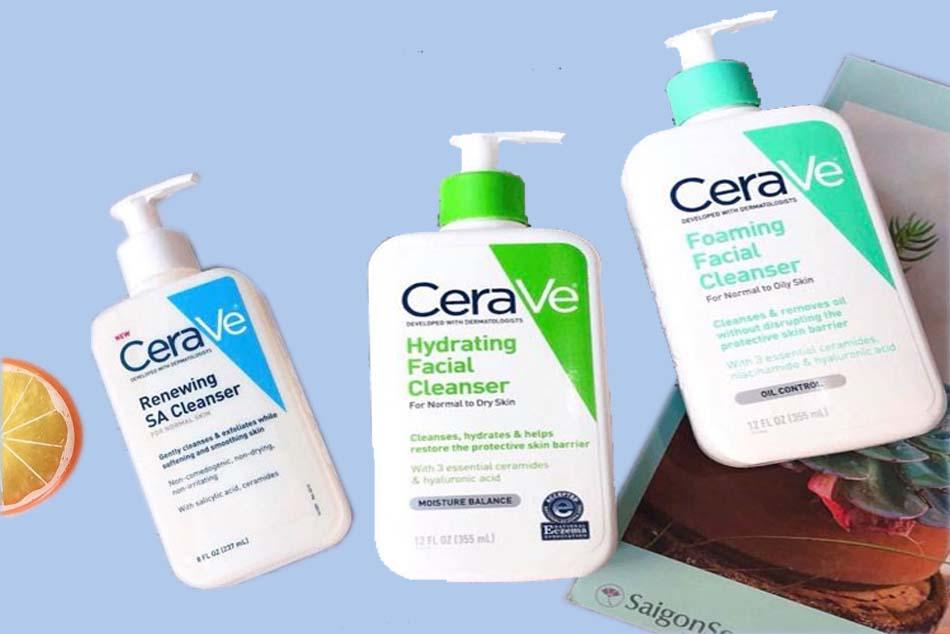 3 loại sữa rửa mặt chính được CeraVe Skincare phân phối trên thị trường